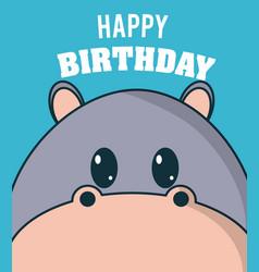 Hippo cute birthday card vector