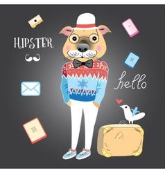 hipster dog vector image