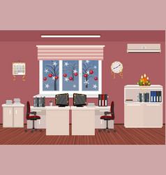 holiday office room interior christmas design of vector image