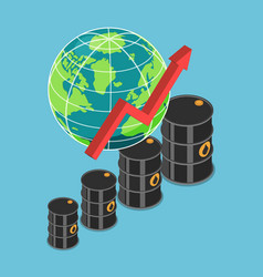 Isometric oil barrel and rising graph with world vector