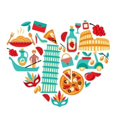 Italy icons heart vector image