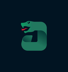 J letter logo with snake head silhouette vector