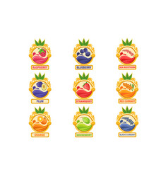 Jam label sticker collection of templates in round vector