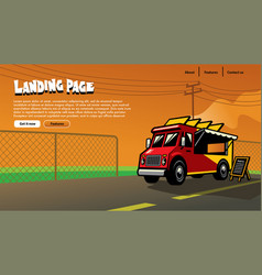 Landing page design food truck vector