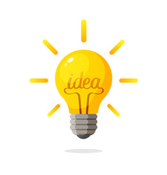light bulb with word idea and rays shine vector image