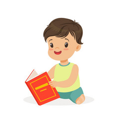Little boy sitting on the floor and reading a book vector