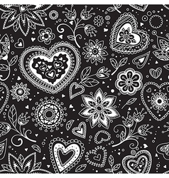 Love hearts seamless pattern 3 vector image