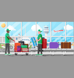 Male mover and airport conveyor belt vector