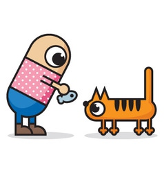 man and cat vector image