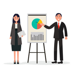 Man and woman on coaching with diagram on placard vector