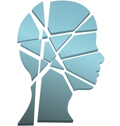 Mental health concept person head shattered vector