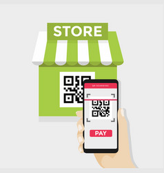 Mobile scan qr code for payment to shopping store vector