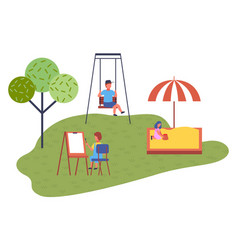 modern kindergarten sandbox swing education vector image