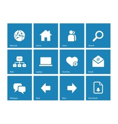 Network icons on blue background vector image