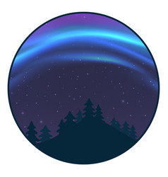 Night sky with aurora over spruce forest in winter vector