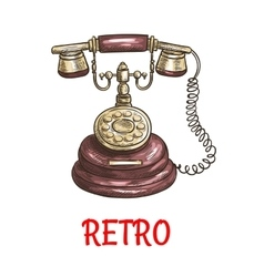 Old vintage retro phone color sketch vector image