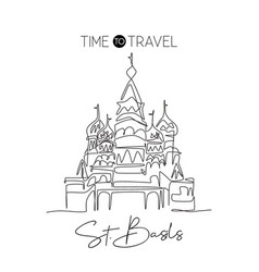 one continuous line drawing st basils landmark vector image
