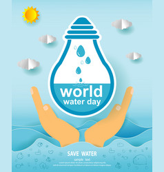 paper art of world water day save water concept vector image