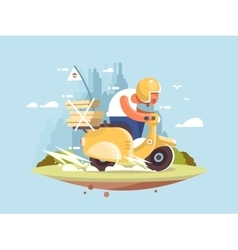 Pizza delivery man vector image