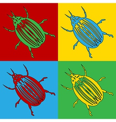 Pop art bug icons vector image