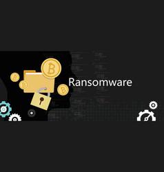 Ransomware wannacry hacker malware concept lock vector