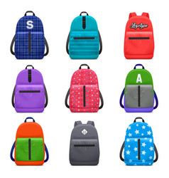 Realistic school backpacks set vector