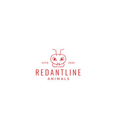 Red ant head modern line logo design vector