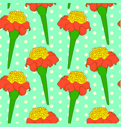 seamless floral pattern with orange tagetes vector image