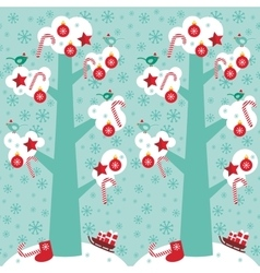 seamless pattern Big tree with white snow on the vector image