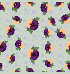 Seamless pattern with pansies and paint splashes vector