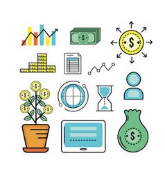 Set analytics finance to business corporation vector