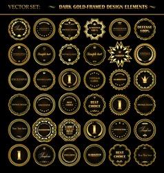 Set dark gold-framed design elements vector