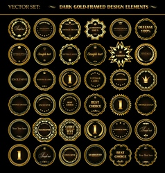 Set of dark gold-framed design elements vector