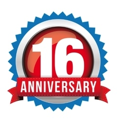 Sixteen years anniversary badge with red ribbon vector