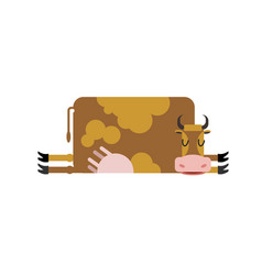 Sleeping cow farm animal is asleep sleepy cattle vector