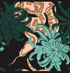 snake and flowers coral green pattern contrast vector image