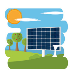 solar panel on nature vector image