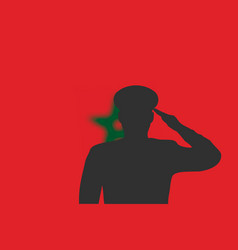 Solder silhouette on blur background with morocco vector