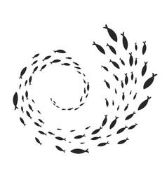 Spiral fish shoal vector
