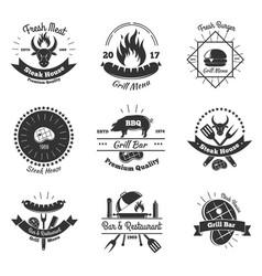 steakhouse vintage emblems set vector image