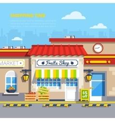 Street Shops Flat Design Concept vector image