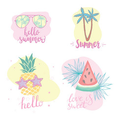 Summer set with hand drawn tropical elements vector