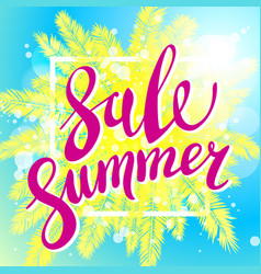 Sunset on the beach summer sale blue background vector