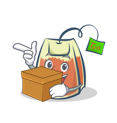 Tea bag character cartoon with box art vector