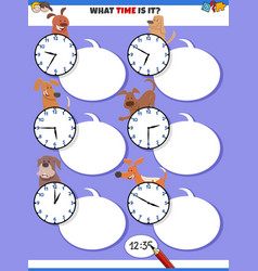Telling time educational task with cartoon dogs vector