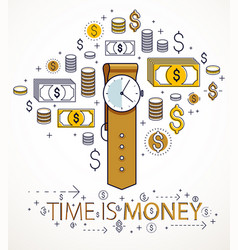 Time is money concept hand watch and dollar icons vector