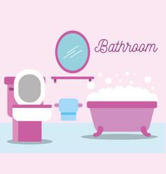 toilet bowl paper bathtub mirror foam bathroom vector image