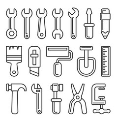 Tool icon set on white background line style vector