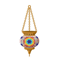 Turkish traditional ceramic lantern isolated on vector