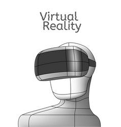 vr poster man in virtual reality headset linear vector image
